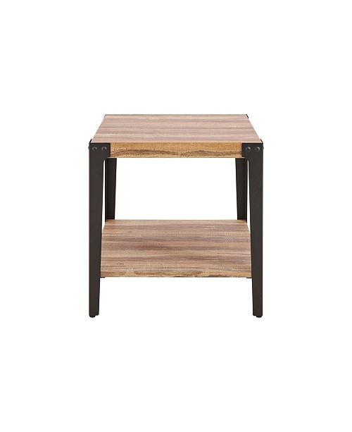 Modern End Side Table In Distressed Wood Finish With Metal