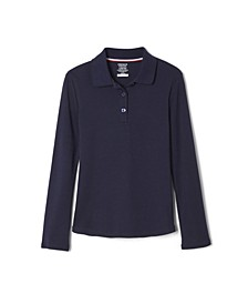 Big Girls Long Sleeve Interlock Knit Polo with Picot Collar