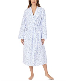 Eileen West Long Floral-Print Wrap Robe