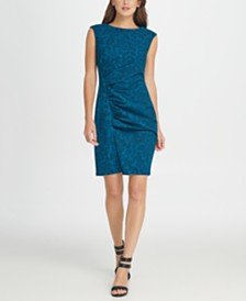 DKNY Ruched Animal Print Sheath Dress