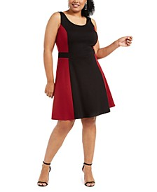 Trendy Plus Size Colorblocked Fit & Flare Dress