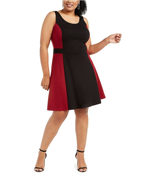 Planet Gold Trendy Plus Size Colorblocked Fit & Flare Dress