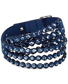 Silver-Tone Crystal & Fabric Wrap Bracelet