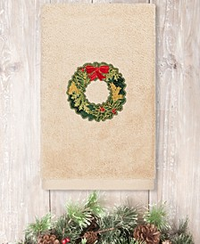 Christmas Wreath Embroidered 100% Turkish Cotton Hand Towel