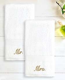 "100% Turkish Cotton ""Mr."" and ""Mrs."" 2-Pc. Hand Towel Set"