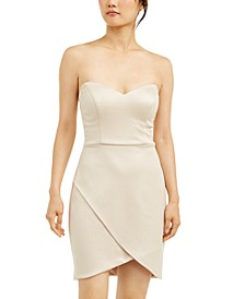 Juniors' Strapless Wrap-Skirt Dress