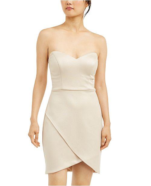 City Studios Juniors' Strapless Wrap-Skirt Dress