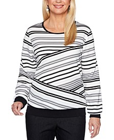Petite Biased Striped Knit Well Red Top