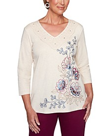 Autumn Harvest Floral-Embroidered Top