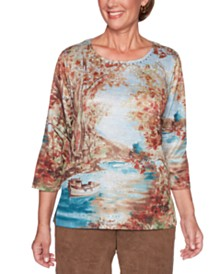 Alfred Dunner Walnut Grove Scenic-Print Top