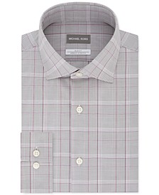 Men's Slim-Fit Airsoft Stretch Performance Plaid Dress Shirt