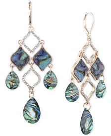 lonna & lilly Gold-Tone Pavé, Rock Crystal & Stone Chandelier Earrings