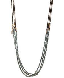 "Gold-Tone Pavé Evil Eye Charm Beaded 36"" Triple-Strand Necklace"