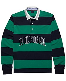 Men's Custom-Fit Washington Stripe Long Sleeve Polo Shirt with Magnetic Buttons
