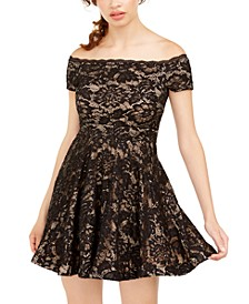 Juniors' Off-The-Shoulder Lace Dress, Created for Macy's