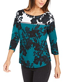 Pima Cotton Printed Colorblocked Top, Created for Macy's