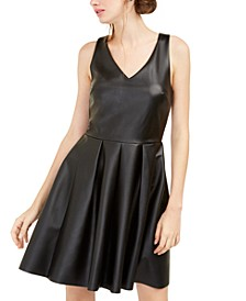 Juniors' Faux-Leather Fit & Flare Dress
