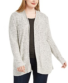 Plus Size Textured Open-Front Cardigan