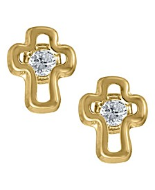 Children's Cubic Zirconia Cross Earrings in 14k Yellow Gold