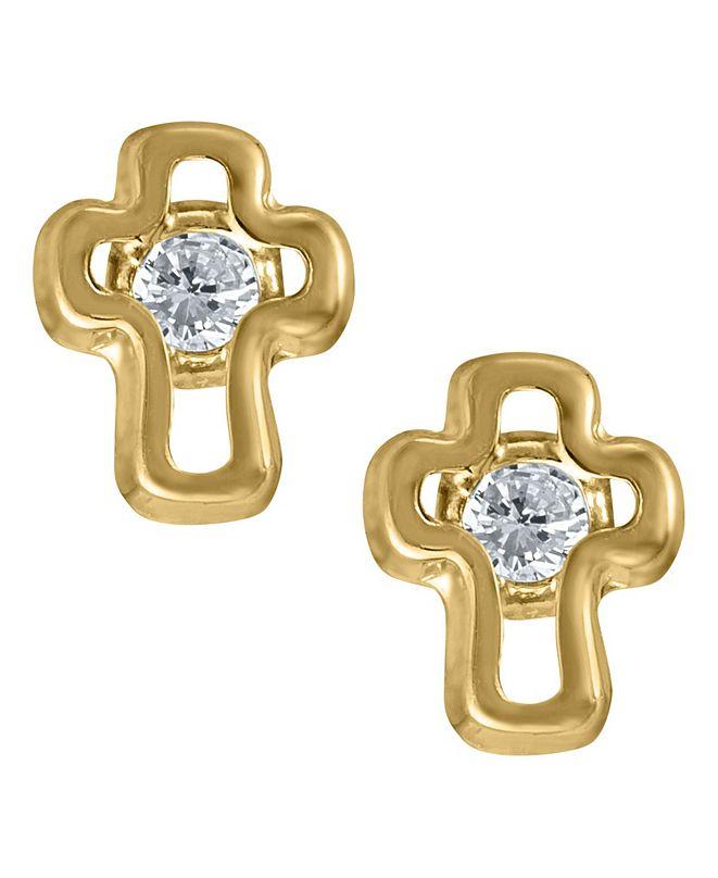Macy's Children's Cubic Zirconia Cross Earrings in 14k Yellow Gold