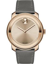 Movado Men's Swiss Bold Gray Leather Strap Watch 43mm