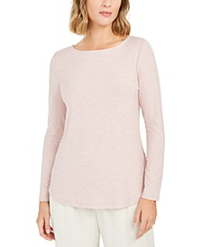 Petite Ribbed Boat-Neck Top, Created for Macy's