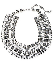 "Silver-Tone Crystal Multi-Row Statement Necklace, 16-1/2"" + 3"" extender, Created For Macy's"