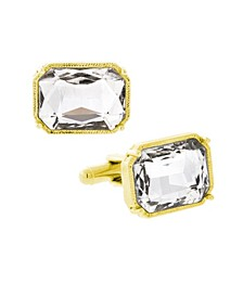Jewelry 14K Gold Plated Rectangle Crystal Cufflinks