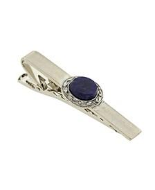 Jewelry Silver-Tone Semi-Precious Sodalite Tie Bar Clip