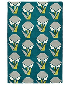 "Origami ORG06-91 Teal 3'6"" x 5'3"" Area Rug"