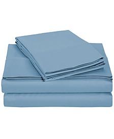University 6 Piece Blue Solid King Sheet Set