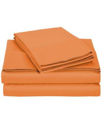 University 4 Piece Orange Solid Twin Xl Sheet Set