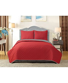 University Solid Reversible 3pc Full/Queen quilt set Red reverse to Gray
