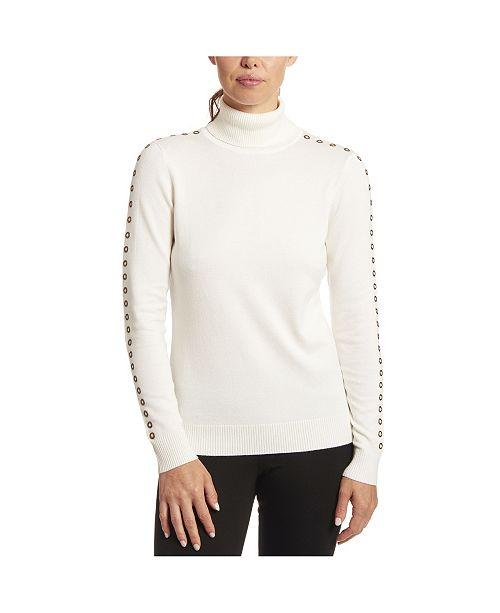 Joseph A Solid Turtleneck with Sleeve Detail