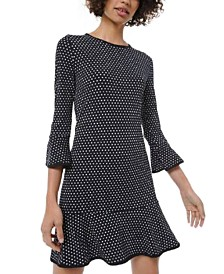 Michael Michael Kors Petite Mini-Dot Flounce Dress