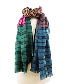 Multi Colored Patchwork Plaid Blanket Scarf