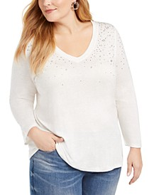 INC Plus Size Embellished Metallic 3/4-Sleeve Top, Created For Macy's