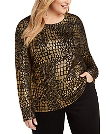 INC Plus Size Croco-Print Sweater, Created For Macy's