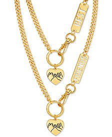 "Gold-Tone Best Friends Pinky Heart Pendant Necklaces Gift Set, 16"" + 3"" extender"