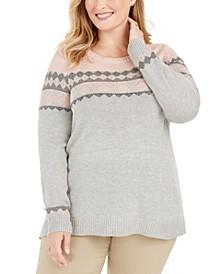 Plus Size Fair Isle-Yoke Sweater, Created For Macy's