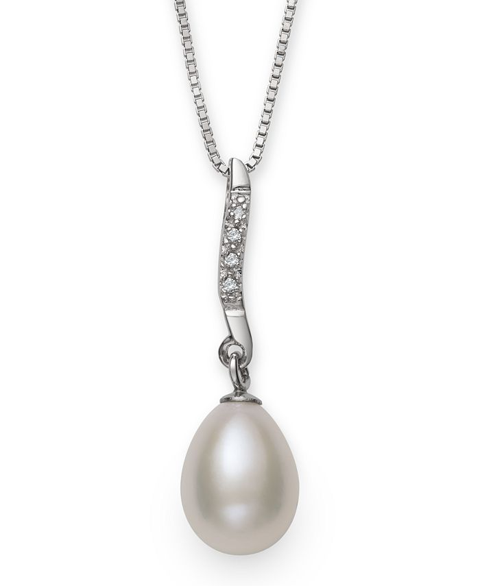 Macy's - Cultured Freshwater Pearl (7-8 mm) and Diamond Accent Swirl Pendant in Sterling Silver