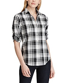 Petite Plaid Twill Button-Down Shirt