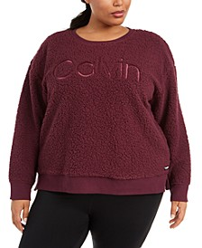 Plus Size Embroidered Sherpa Sweatshirt