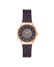 Women's Solar Powered Brown Stainless Steel Mesh Bracelet Watch 27mm