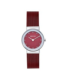 Women's Crystal Red Stainless Steel Mesh Bracelet Watch 26mm