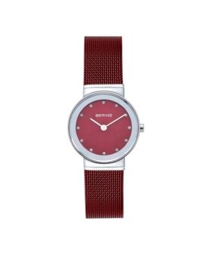 Women's Crystal Red Stainless Steel Mesh Bracelet Watch 26mm