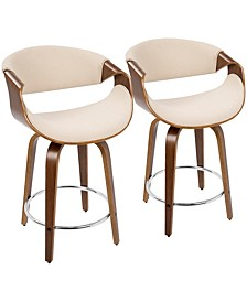 "Curvini 24"" Counter Stool, Set of 2"