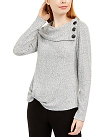 Juniors' Button Trim Ribbed Sweater