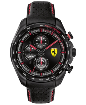 Men's Chronograph Speedracer Black Leather Strap Watch 44mm