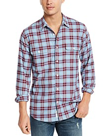 Men's Saturday Stretch Regular-Fit Plaid Shirt